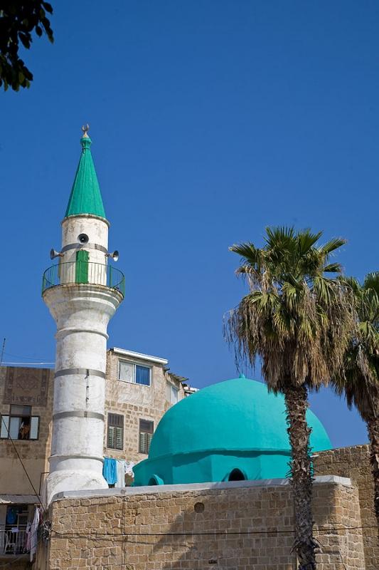 Einen herrlichen Anblick bietet die Moschee vor dem wolkenlosen Himmel.