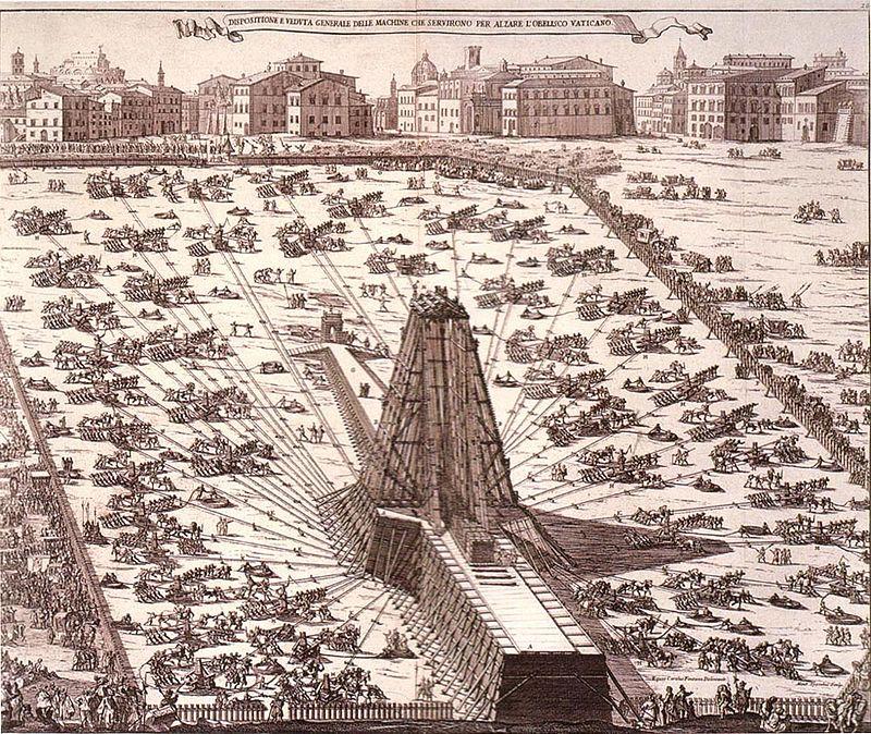 Aufstellung des Obelisken auf dem Petersplatz 1586 mit 900 Arbeitern und 75 Pferden. Diese Zeichnung stammt von Niccola Zabaglia (1664-1750)