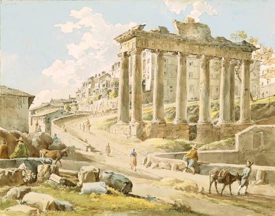 Bild Johann Georg von Dilllis, ein deutscher Maler (1759-1841): Das Forum Romanum beim Saturntempel