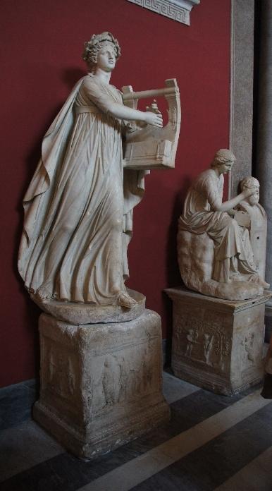 In dieser Gruppierung Apollo ist mit Caliope, der Muse der Elegie zu sehen.