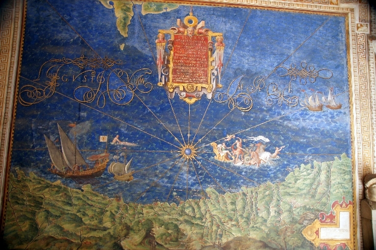 """Ligurien mit dem Schiff Andrea Doria und die Darstellung von Christoph Kolumbus als römischer Kaiser mit der Aufschrift: """"Christoph Kolumbus Entdecker der Neuen Welt"""""""