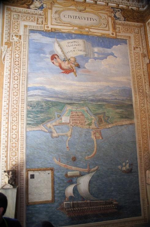 Civitavecchia mit einem Frachtschiff , das den Obelisk von Psammetich II nach Rom transportiert , später wurde er auf der Piazza Montecitorio platziert