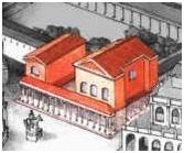 Außen wird die Curia von breiten Pfeilern gestützt, die in einer Flucht mit der Fassade liegen und mit Giebeln bekrönt sind.