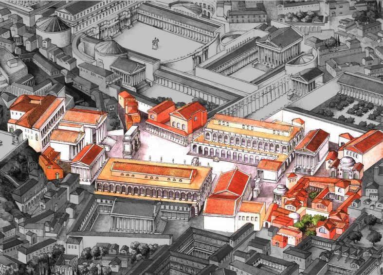 Aufbereitetes Gesamtbild des Forum Romanum