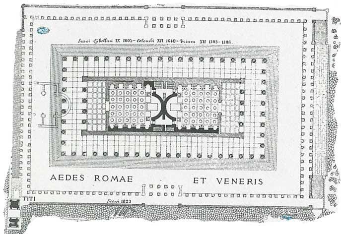 Der Doppeltempel war der Venus und der Roma geweiht. Die beiden ursprünglich gleichen Tempel stehen spiegelbildlich Rücken an Rücken.