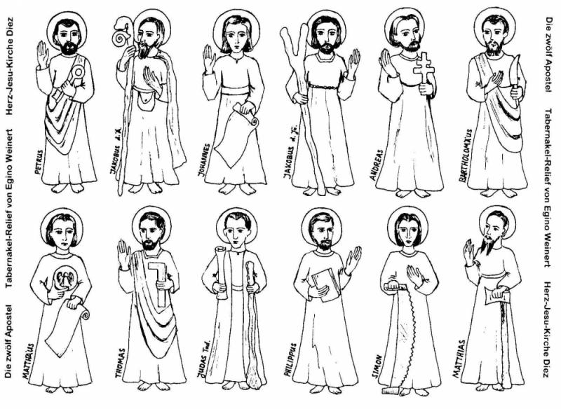 Die zwölf Apostel Texte und Zeichnung aus dem Internet: http://www.kath-diez.de/FAQ_Fragen_ABC/Zwolf_Apostel/zwolf_apostel.html Wir möchten uns herzlcih für diese schöne Ausarbeitung bedanken! Die Bilder sind von uns, aufgenommen in der Basilika San Giovanni in Laterano