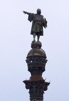Kolumbus zeigt in Richtung seiner Eroberungsfahrt.