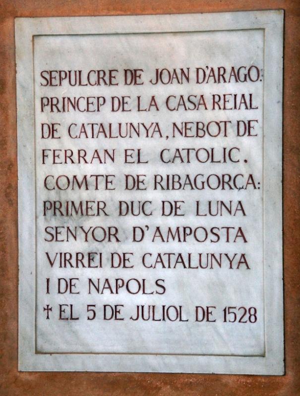 Der Text zum Denkmal John II von Aragon