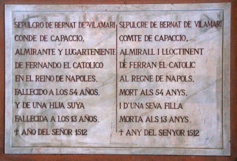 Tafel zum Grafen von Capacho