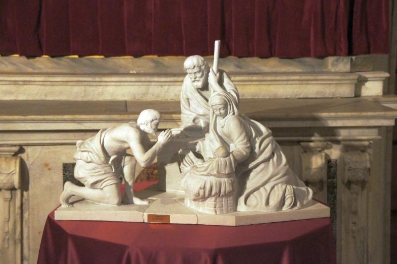 Szene von der Geburt Christi mit Maria und Josef und einem Hirten.