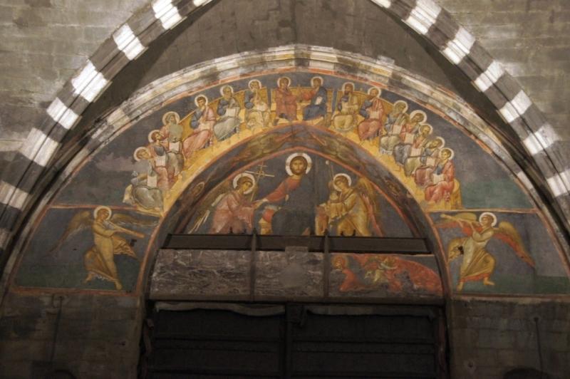 Unbekannter byzantinischer Maler (um1300): Fresken am inneren Bogen des Hauptportals (Christus mit den Aposteln beim Abendmahl)